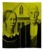 American Gothic In Yellow Fleece Blanket