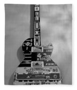 American Guitar In Black And White1 Fleece Blanket
