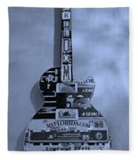 American Guitar In Cyan Fleece Blanket
