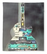 American Guitar In Neagtive Fleece Blanket