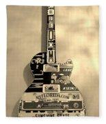 American Guitar In Sepia Fleece Blanket