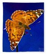 American Lady Butterfly Blue Square Fleece Blanket