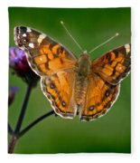 American Lady Butterfly With Green Background Fleece Blanket