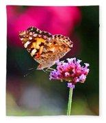 American Painted Lady Butterfly Pink Fleece Blanket