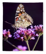 American Painted Lady Butterfly Purple Background Fleece Blanket