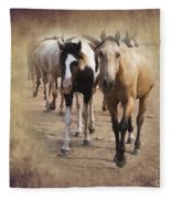 American Quarter Horse Herd Fleece Blanket