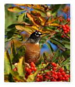 American Robin Fleece Blanket