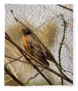 American Robin On A Branch Fleece Blanket
