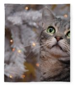 American Shorthair Cat With Holiday Tree Fleece Blanket