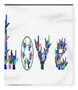 American Sign Language I Love You On White Fleece Blanket