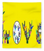 American Sign Language Love Hands Fleece Blanket