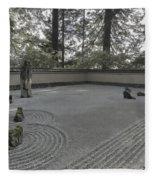 American Zen Rock And Raked Gravel Garden - Portland Oregon Fleece Blanket
