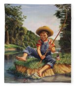 Americana - Country Boy Fishing In River Landscape - Square Format Image Fleece Blanket