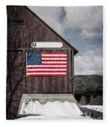 Americana Patriotic Barn Fleece Blanket