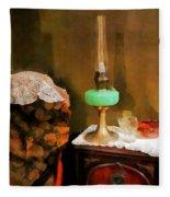 Americana - Still Life With Hurricane Lamp Fleece Blanket