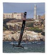 Americas Cup Oracle Team And Alcatraz Fleece Blanket