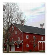 Amish Barn And Wind Mill - Allen County Indiana Fleece Blanket