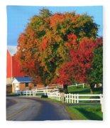 Amish Barn In Autumn Fleece Blanket