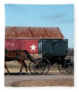Amish Buggy And Star Barn Fleece Blanket