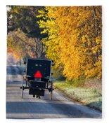 Amish Buggy And Yellow Leaves Fleece Blanket