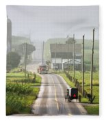 Amish Buggy Confronts The Modern World Fleece Blanket
