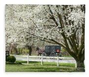 Amish Buggy Fowering Tree Fleece Blanket