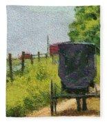 Amish Buggy In Ohio Fleece Blanket