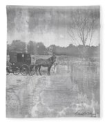 Amish Buggy In Old Book Fleece Blanket