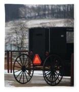 Amish Buggy In Winter Fleece Blanket