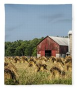 Amish Country Wheat Stacks And Barn Fleece Blanket