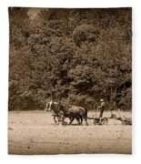 Amish Farmer Tilling The Fields In Black And White Fleece Blanket