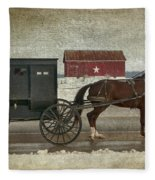 Amish Horse And Buggy And The Star Barn Fleece Blanket