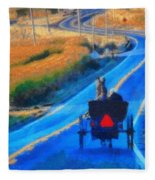 Amish Horse And Buggy In Autumn Fleece Blanket