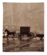 Amish Horse And Buggy With Wagon Bw Fleece Blanket
