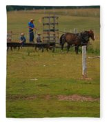 Amish Man And Two Sons On The Farm Fleece Blanket