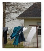 Amish Washday - Allen County Indiana Fleece Blanket