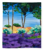 Among The Lavender Fleece Blanket