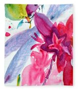 Among The Peonies Fleece Blanket