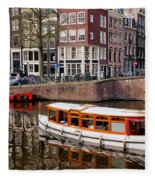 Amsterdam Canal And Houses Fleece Blanket
