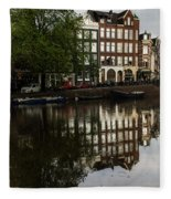 Amsterdam Canal Houses In The Rain Fleece Blanket