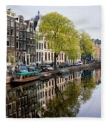 Amsterdam Canal In Spring Fleece Blanket