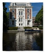 Amsterdam Canal Mansions - Bright White Symmetry  Fleece Blanket