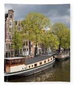 Amsterdam Canal Waterfront Fleece Blanket