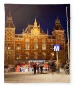 Amsterdam Central Station And Metro Entrance Fleece Blanket