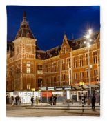 Amsterdam Central Station And Tram Stop At Night Fleece Blanket