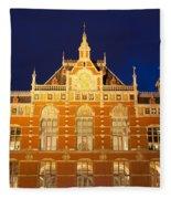 Amsterdam Central Train Station At Night Fleece Blanket