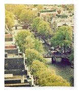 Amsterdam Holland Netherlands In Vintage Style Fleece Blanket