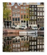 Amsterdam Houses By The Singel Canal Fleece Blanket