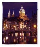 Amsterdam In The Netherlands By Night Fleece Blanket