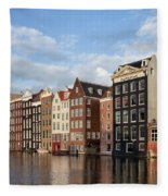 Amsterdam Old Town At Sunset Fleece Blanket